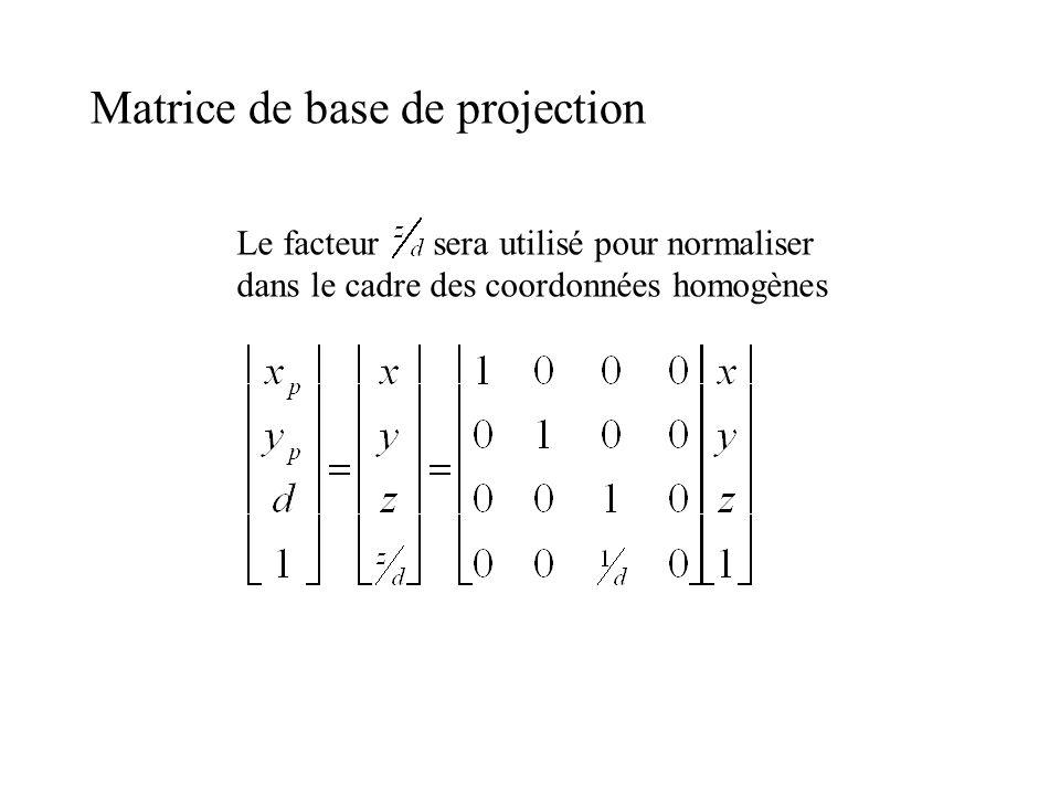 Matrice de base de projection Le facteur sera utilisé pour normaliser dans le cadre des coordonnées homogènes