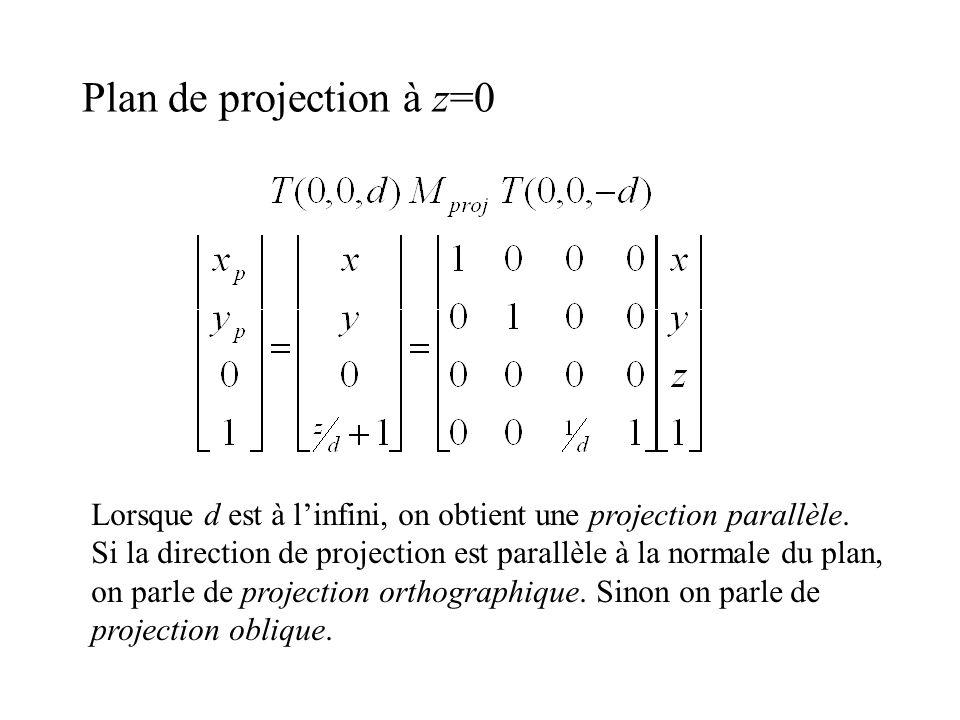 Plan de projection à z=0 Lorsque d est à linfini, on obtient une projection parallèle. Si la direction de projection est parallèle à la normale du pla