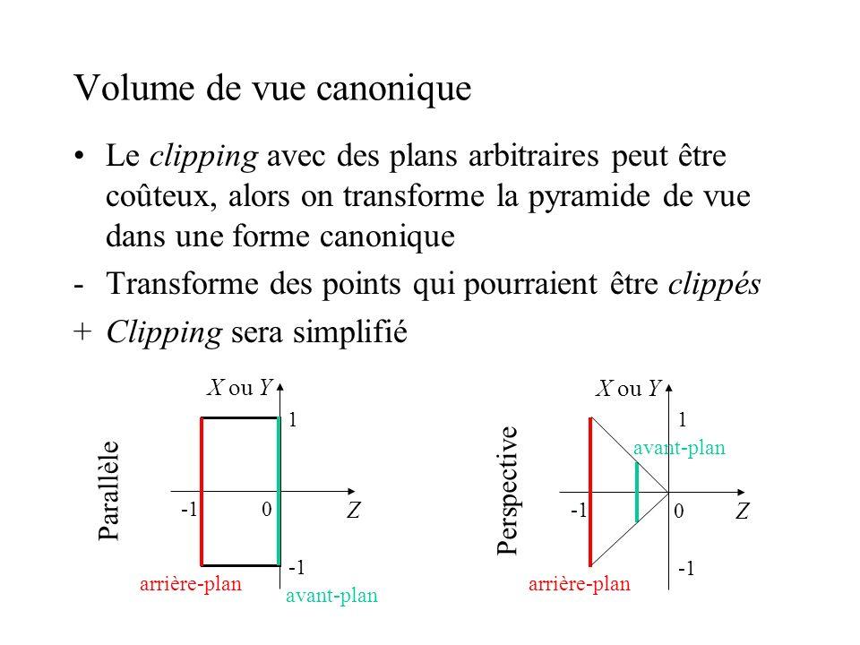 Volume de vue canonique Le clipping avec des plans arbitraires peut être coûteux, alors on transforme la pyramide de vue dans une forme canonique -Tra