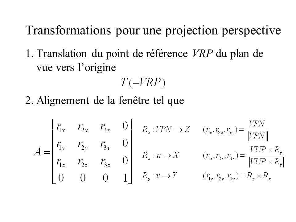 Transformations pour une projection perspective 1.Translation du point de référence VRP du plan de vue vers lorigine 2.Alignement de la fenêtre tel qu