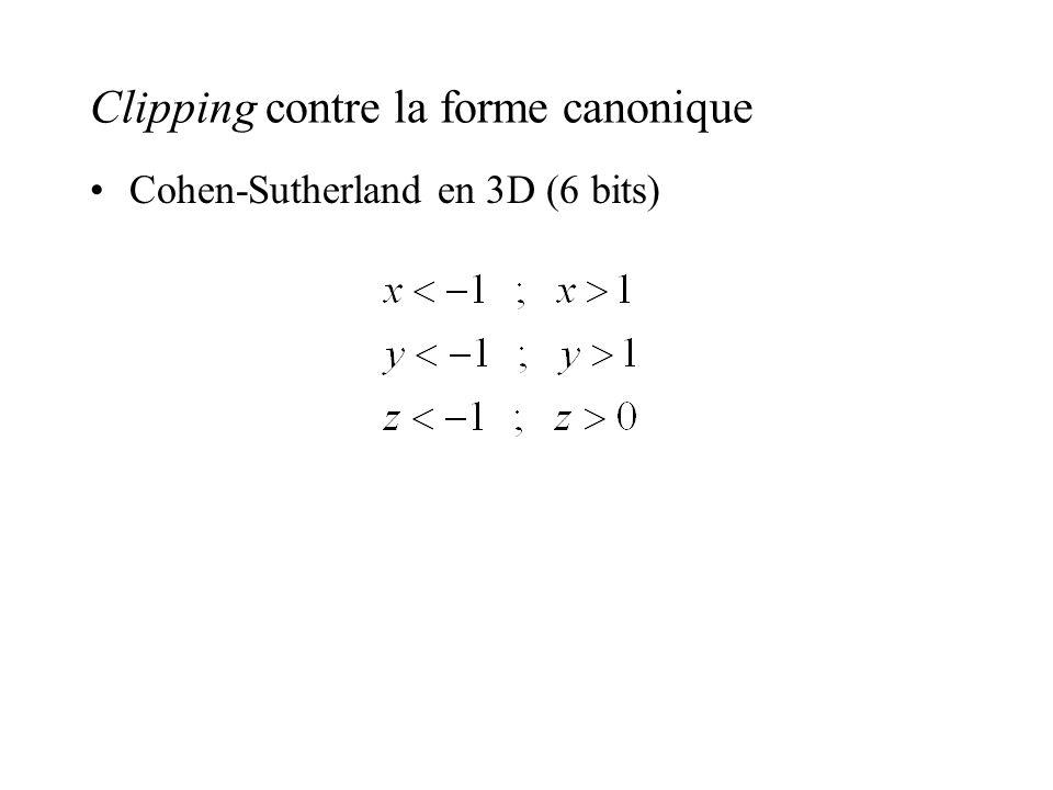 Clipping contre la forme canonique Cohen-Sutherland en 3D (6 bits)