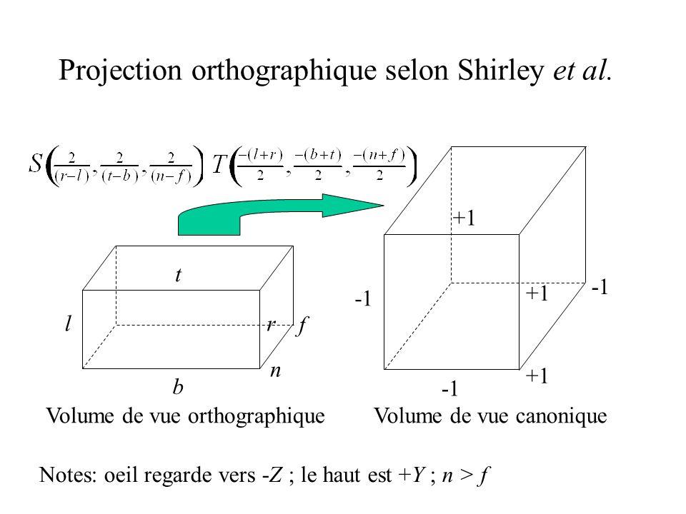 Projection orthographique selon Shirley et al. lr t b n f +1 +1 Volume de vue orthographiqueVolume de vue canonique Notes: oeil regarde vers -Z ; le h