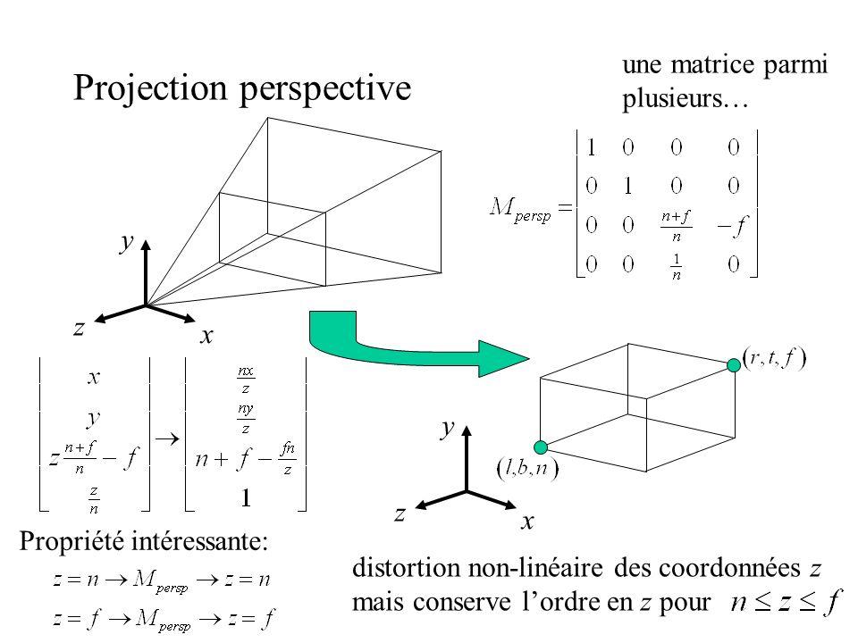 Projection perspective x y z x y z distortion non-linéaire des coordonnées z mais conserve lordre en z pour Propriété intéressante: une matrice parmi