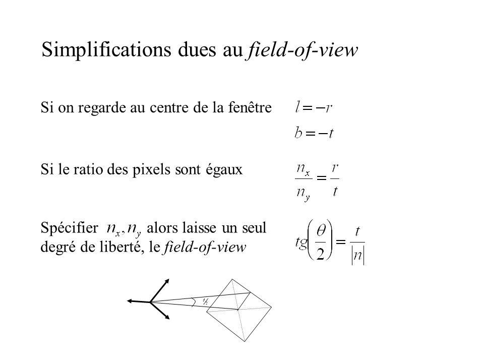 Simplifications dues au field-of-view Si on regarde au centre de la fenêtre Si le ratio des pixels sont égaux Spécifier alors laisse un seul degré de