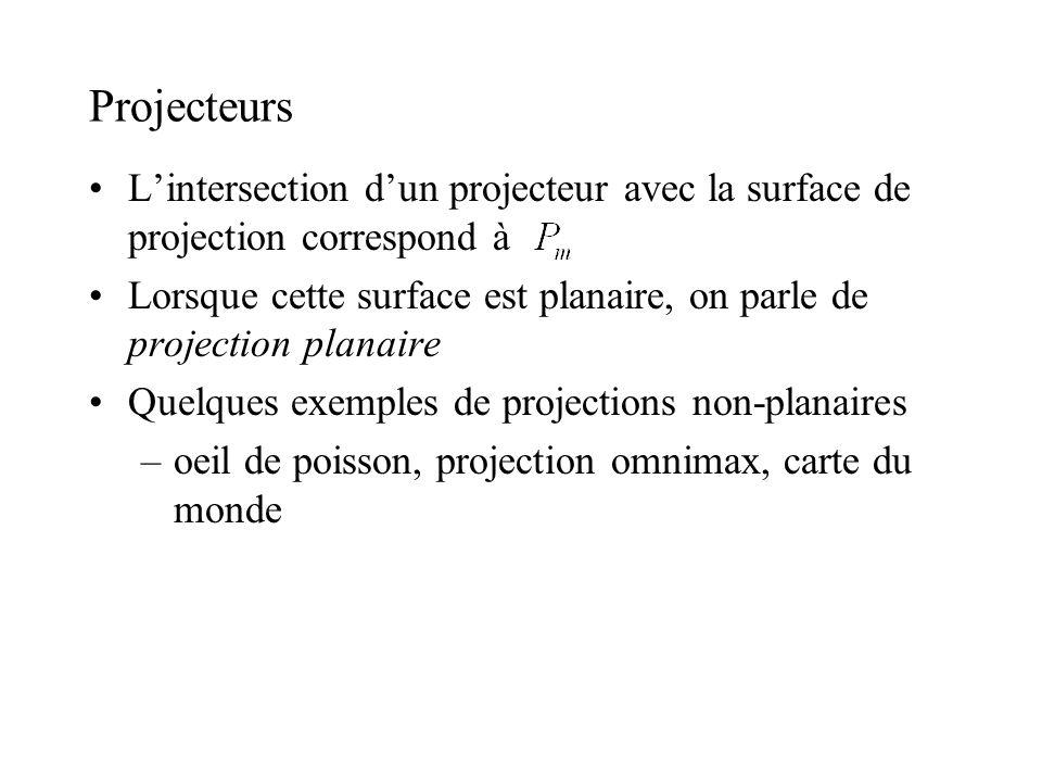 Nomenclature VRP: view reference point –point sur le plan de vue VPN: view-plane normal –normale du plan de vue où repose la fenêtre 3D VUP: view up vector –vecteur 3D dalignement vertical de la fenêtre 3D PRP: projection reference point –point par lequel passent tous les projecteurs –ce point peut être à linfini –DOP = (CW - PRP): direction of projection CW: center of the window –centre de la fenêtre rectangulaire