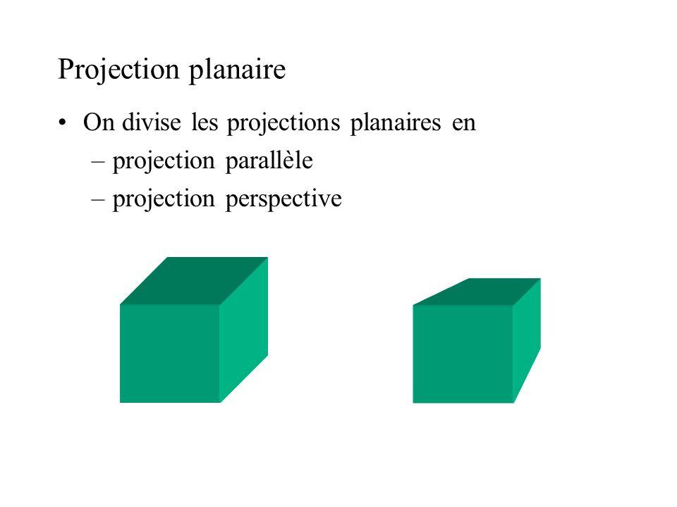 Projection parallèle Centre de projection est à linfini Direction de projection Projecteurs sont parallèles entre eux Lignes parallèles en 3D demeurent parallèles après projection Angles entre les lignes peuvent changer direction ou point à linfini