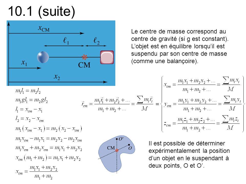 10.1 (suite) Le centre de masse correspond au centre de gravité (si g est constant). Lobjet est en équilibre lorsquil est suspendu par son centre de m