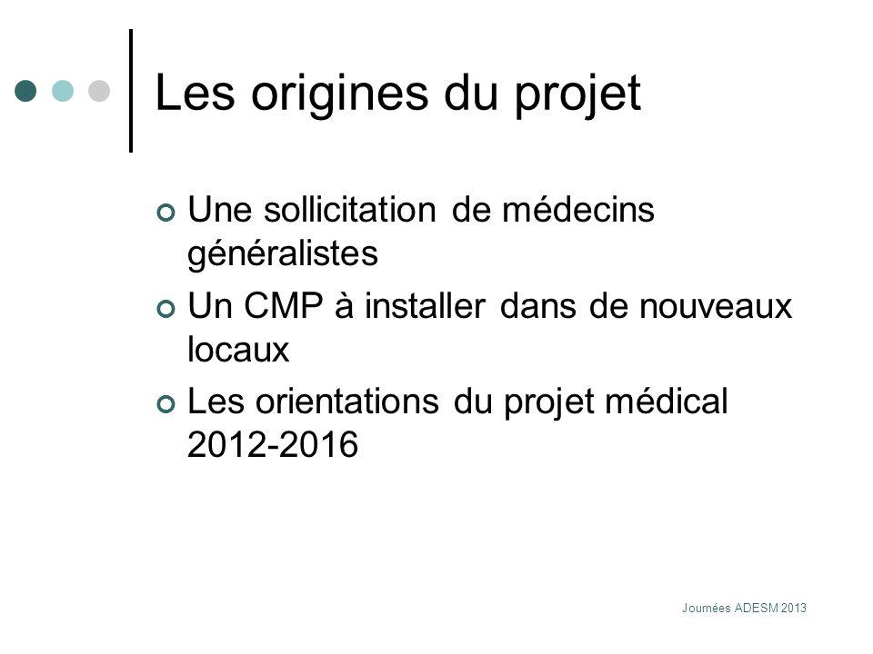 Journées ADESM 2013 Les origines du projet Une sollicitation de médecins généralistes Un CMP à installer dans de nouveaux locaux Les orientations du p