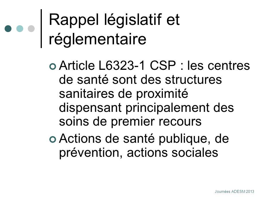 Journées ADESM 2013 Rappel législatif et réglementaire Article L6323-1 CSP : les centres de santé sont des structures sanitaires de proximité dispensa