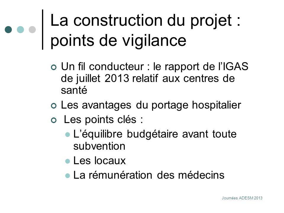 Journées ADESM 2013 La construction du projet : points de vigilance Un fil conducteur : le rapport de lIGAS de juillet 2013 relatif aux centres de san