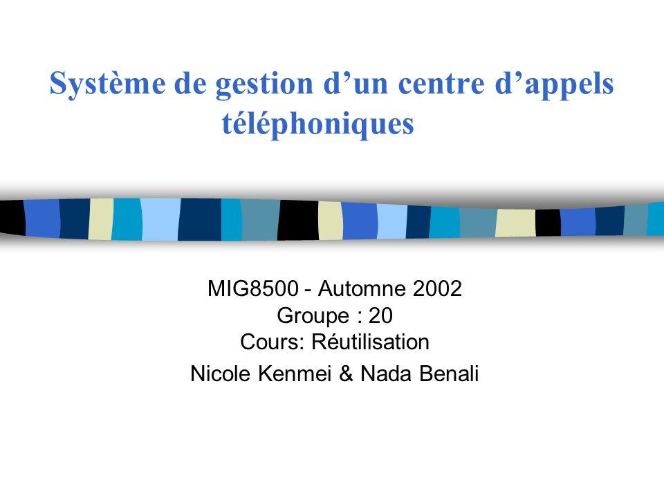Système de gestion dun centre dappels téléphoniques MIG8500 - Automne 2002 Groupe : 20 Cours: Réutilisation Nicole Kenmei & Nada Benali