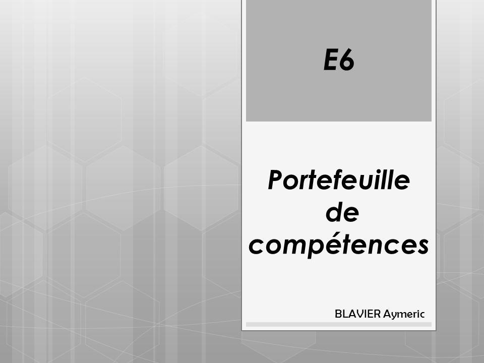 Portefeuille de compétences BLAVIER Aymeric E6