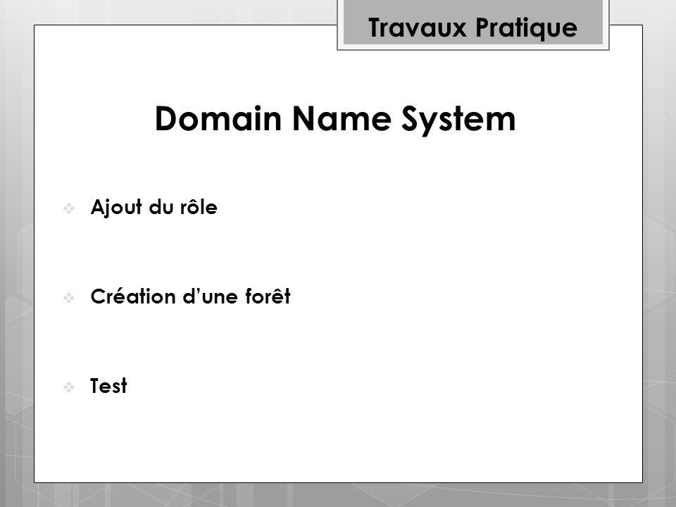 Travaux Pratique Ajout du rôle Création dune forêt Test Domain Name System