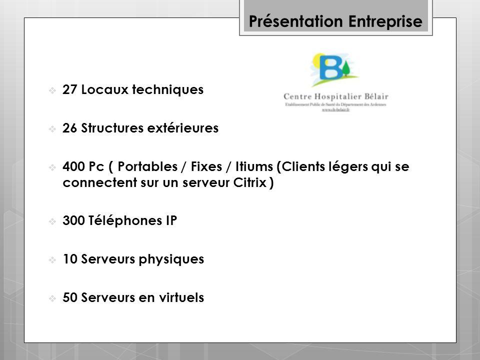Présentation Entreprise 27 Locaux techniques 26 Structures extérieures 400 Pc ( Portables / Fixes / Itiums (Clients légers qui se connectent sur un serveur Citrix ) 300 Téléphones IP 10 Serveurs physiques 50 Serveurs en virtuels