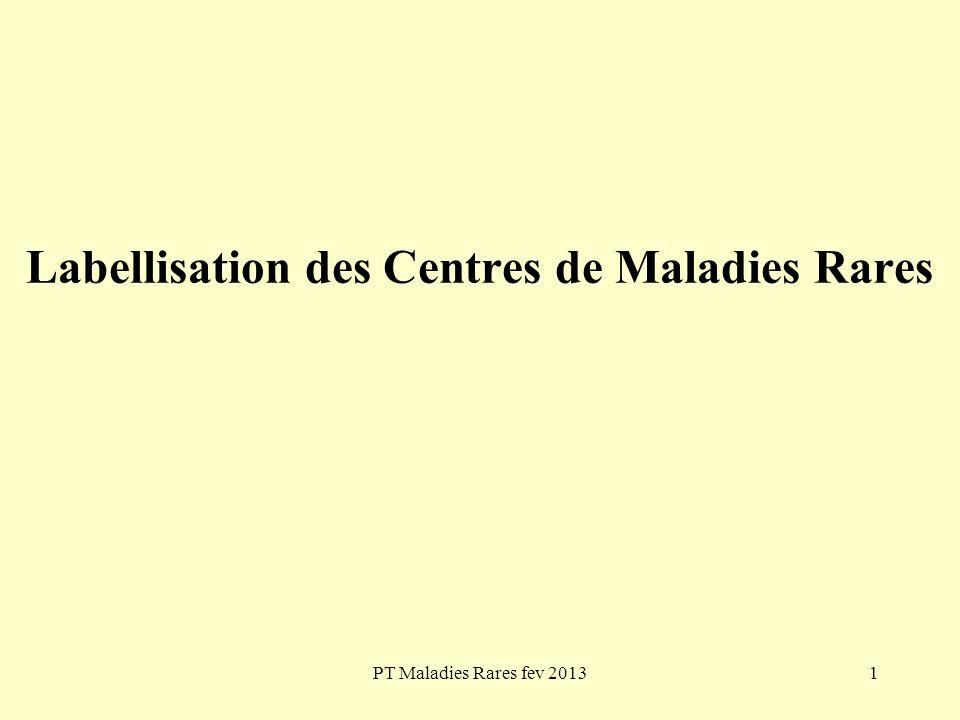 PT Maladies Rares fev 201312 Labellisation des Centres de Maladies Rares Exemple Pour laction A-1-1 Structurer des filières « maladies rares », le plan fait état dune expertise regroupant 131 centres de référence et 501 centres de compétences repartis en 18 groupes de maladies.