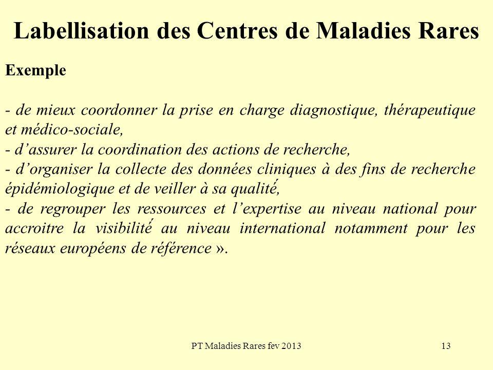 PT Maladies Rares fev 201313 Labellisation des Centres de Maladies Rares Exemple - de mieux coordonner la prise en charge diagnostique, thérapeutique