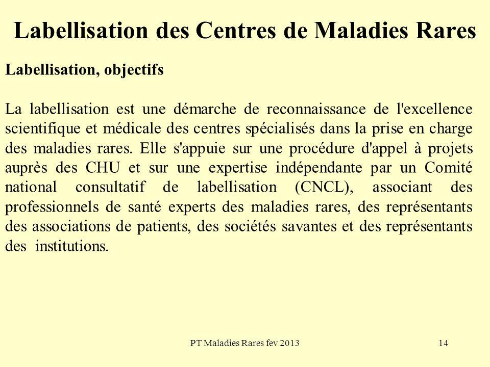 PT Maladies Rares fev 201314 Labellisation des Centres de Maladies Rares Labellisation, objectifs La labellisation est une démarche de reconnaissance