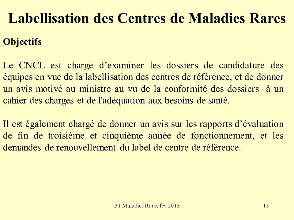 PT Maladies Rares fev 201315 Labellisation des Centres de Maladies Rares Objectifs Le CNCL est chargé dexaminer les dossiers de candidature des équipe