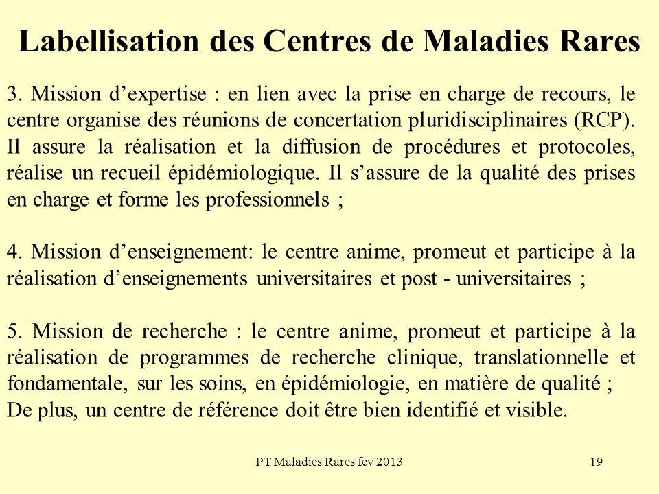 PT Maladies Rares fev 201319 Labellisation des Centres de Maladies Rares 3. Mission dexpertise : en lien avec la prise en charge de recours, le centre