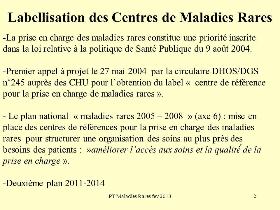 PT Maladies Rares fev 20132 Labellisation des Centres de Maladies Rares -La prise en charge des maladies rares constitue une priorité inscrite dans la