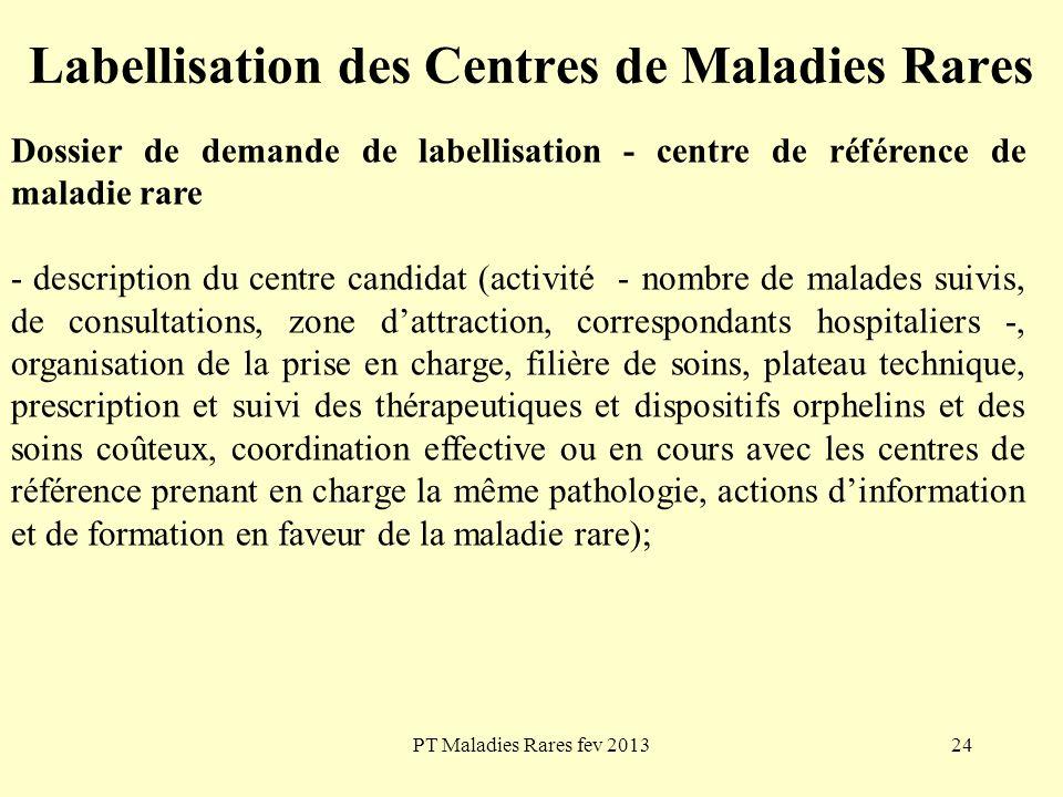 PT Maladies Rares fev 201324 Labellisation des Centres de Maladies Rares Dossier de demande de labellisation - centre de référence de maladie rare - d
