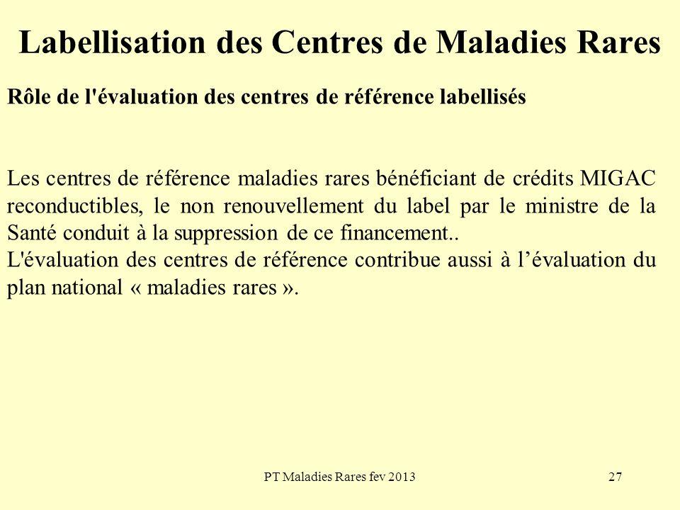 PT Maladies Rares fev 201327 Labellisation des Centres de Maladies Rares Rôle de l'évaluation des centres de référence labellisés Les centres de référ