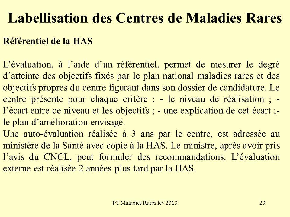 PT Maladies Rares fev 201329 Labellisation des Centres de Maladies Rares Référentiel de la HAS Lévaluation, à laide dun référentiel, permet de mesurer