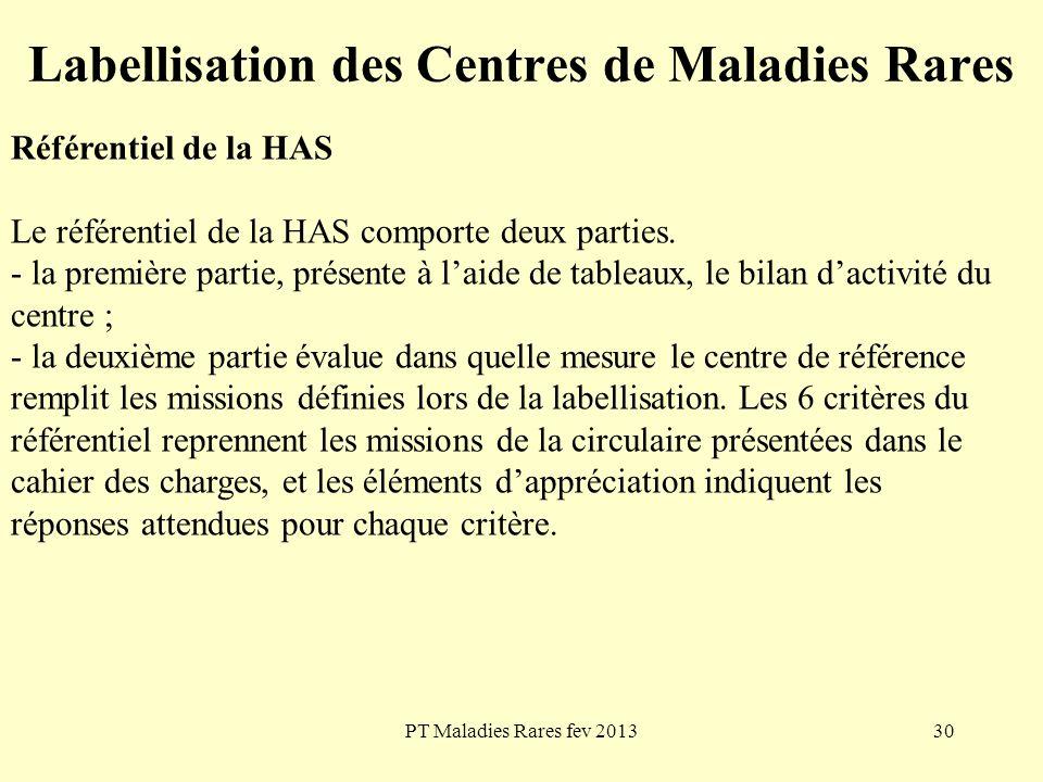 PT Maladies Rares fev 201330 Labellisation des Centres de Maladies Rares Référentiel de la HAS Le référentiel de la HAS comporte deux parties. - la pr