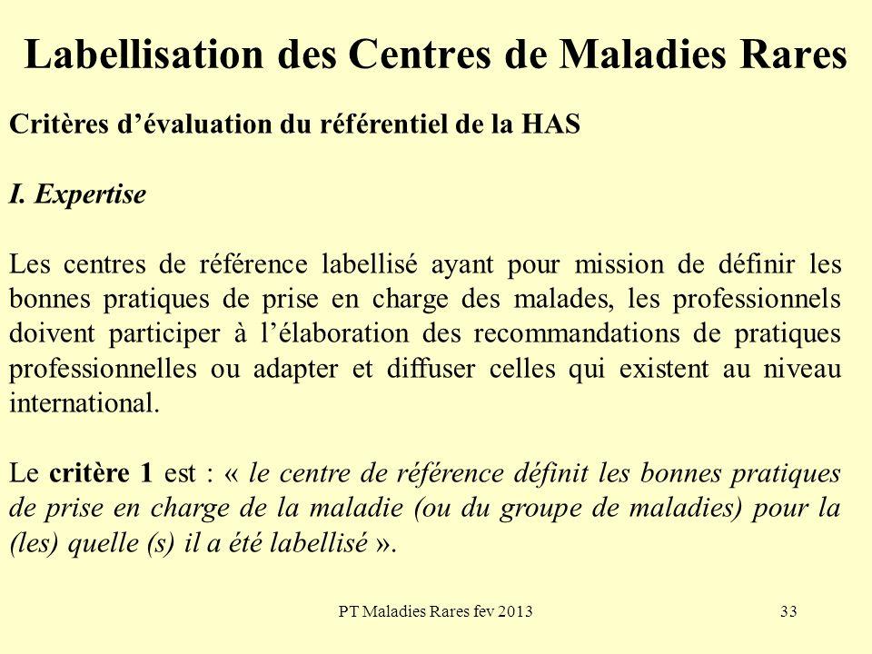 PT Maladies Rares fev 201333 Labellisation des Centres de Maladies Rares Critères dévaluation du référentiel de la HAS I. Expertise Les centres de réf