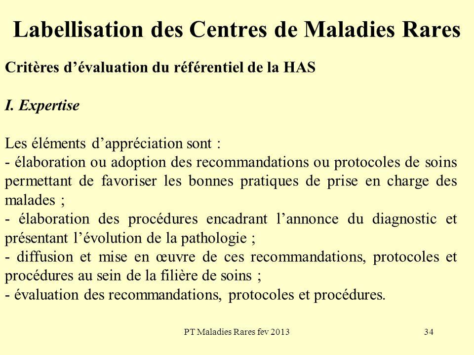 PT Maladies Rares fev 201334 Labellisation des Centres de Maladies Rares Critères dévaluation du référentiel de la HAS I. Expertise Les éléments dappr