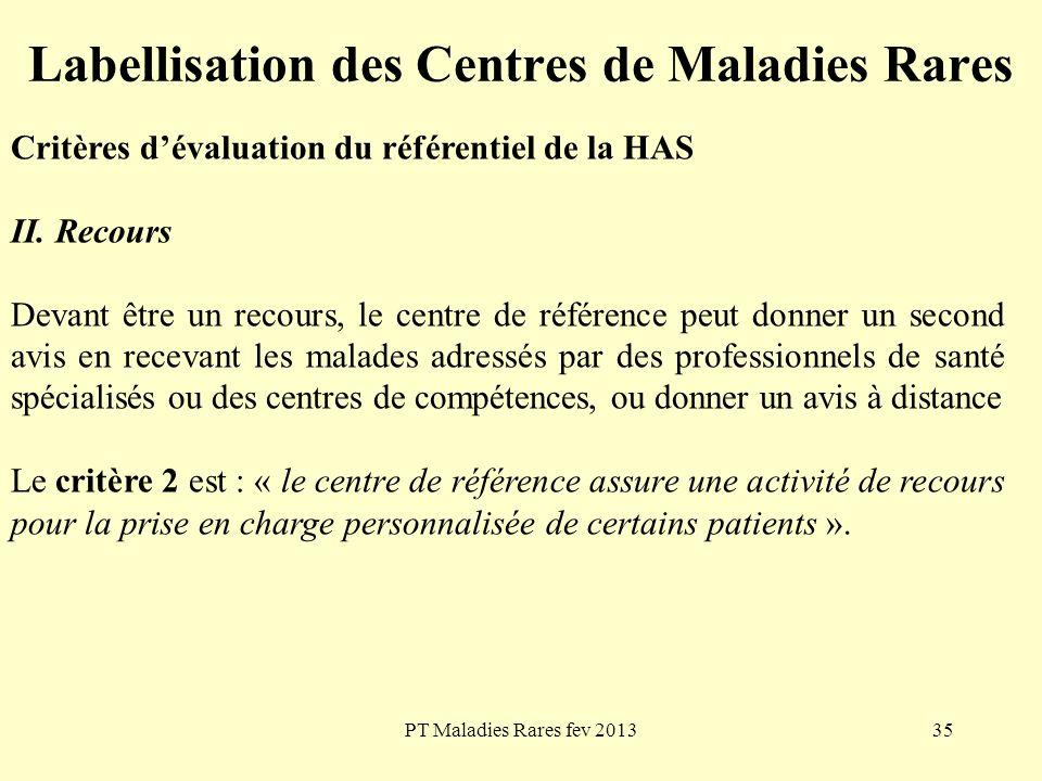 PT Maladies Rares fev 201335 Labellisation des Centres de Maladies Rares Critères dévaluation du référentiel de la HAS II. Recours Devant être un reco
