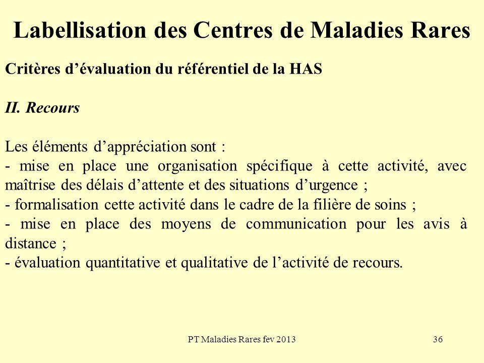 PT Maladies Rares fev 201336 Labellisation des Centres de Maladies Rares Critères dévaluation du référentiel de la HAS II. Recours Les éléments dappré