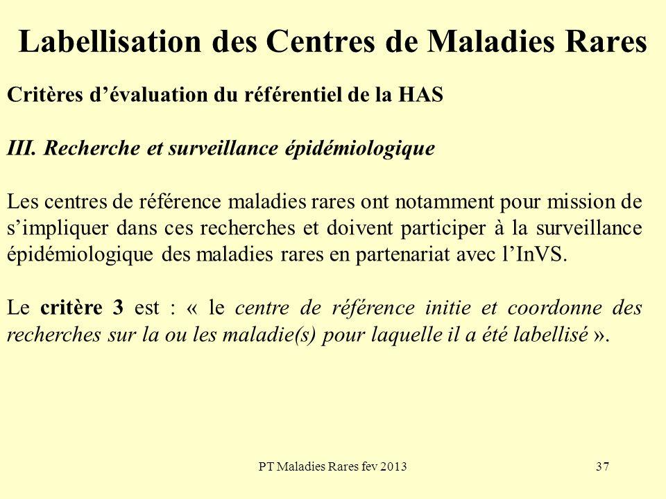 PT Maladies Rares fev 201337 Labellisation des Centres de Maladies Rares Critères dévaluation du référentiel de la HAS III. Recherche et surveillance