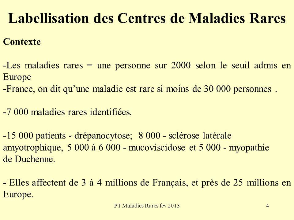 PT Maladies Rares fev 20134 Labellisation des Centres de Maladies Rares Contexte -Les maladies rares = une personne sur 2000 selon le seuil admis en E