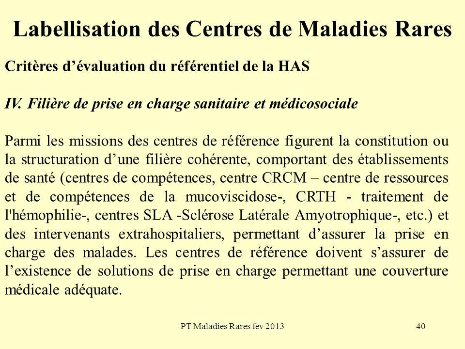 PT Maladies Rares fev 201340 Labellisation des Centres de Maladies Rares Critères dévaluation du référentiel de la HAS IV. Filière de prise en charge