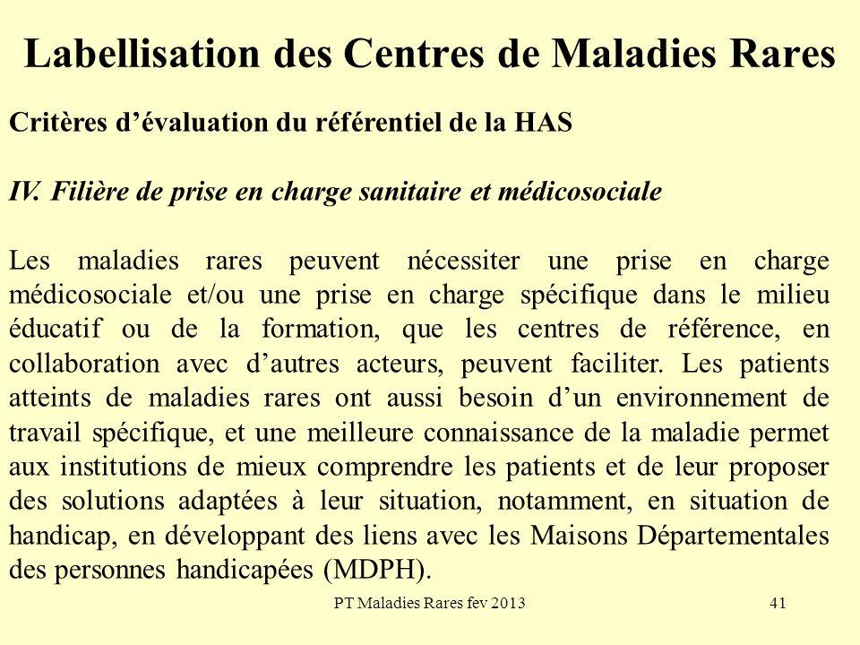 PT Maladies Rares fev 201341 Labellisation des Centres de Maladies Rares Critères dévaluation du référentiel de la HAS IV. Filière de prise en charge