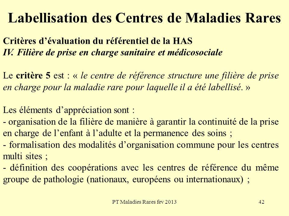 PT Maladies Rares fev 201342 Labellisation des Centres de Maladies Rares Critères dévaluation du référentiel de la HAS IV. Filière de prise en charge