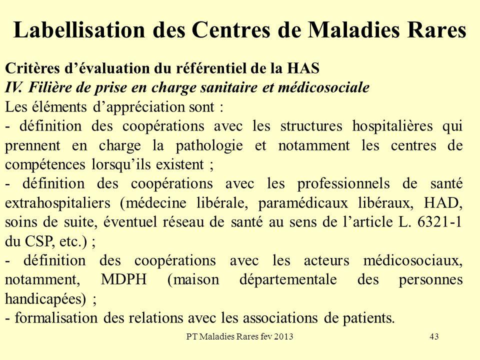 PT Maladies Rares fev 201343 Labellisation des Centres de Maladies Rares Critères dévaluation du référentiel de la HAS IV. Filière de prise en charge
