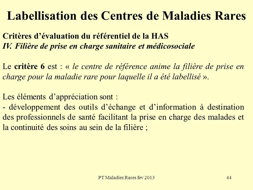 PT Maladies Rares fev 201344 Labellisation des Centres de Maladies Rares Critères dévaluation du référentiel de la HAS IV. Filière de prise en charge