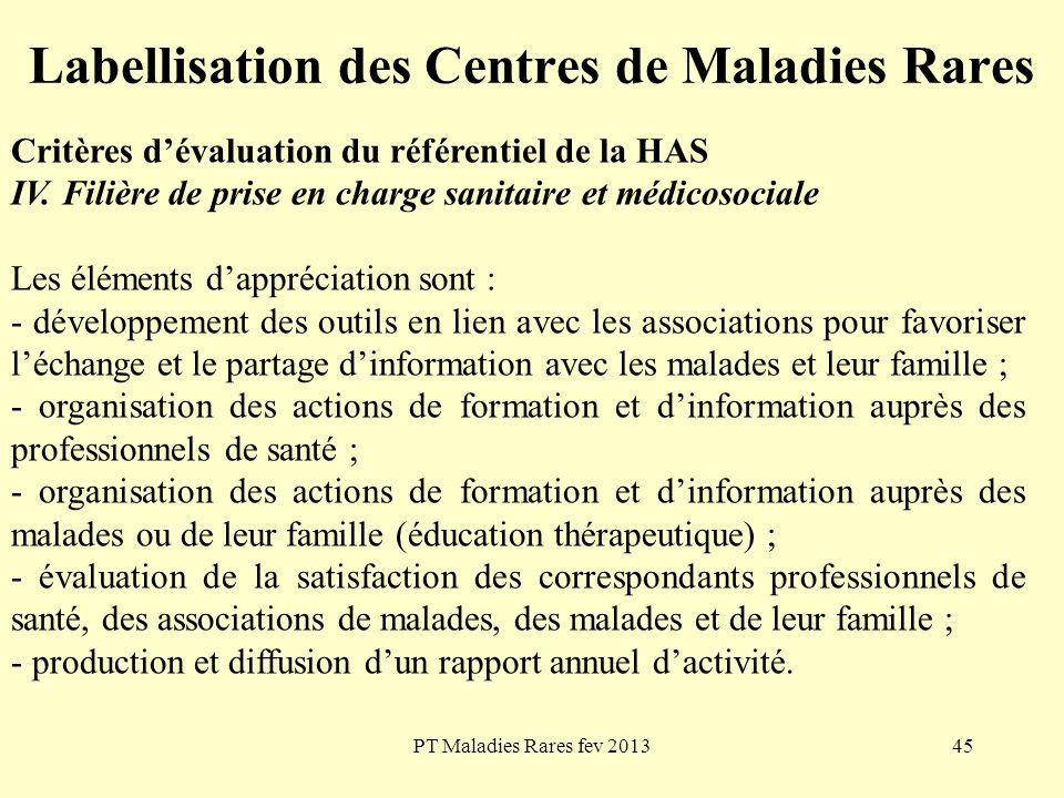 PT Maladies Rares fev 201345 Labellisation des Centres de Maladies Rares Critères dévaluation du référentiel de la HAS IV. Filière de prise en charge