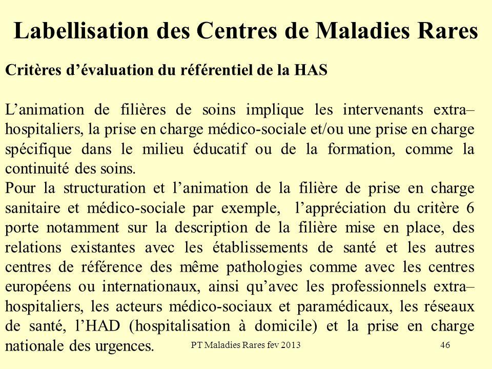 PT Maladies Rares fev 201346 Labellisation des Centres de Maladies Rares Critères dévaluation du référentiel de la HAS Lanimation de filières de soins