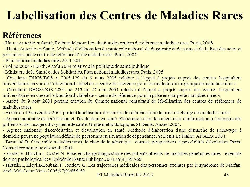 PT Maladies Rares fev 201348 Labellisation des Centres de Maladies Rares Références - Haute Autorité en Santé, Référentiel pour lévaluation des centre