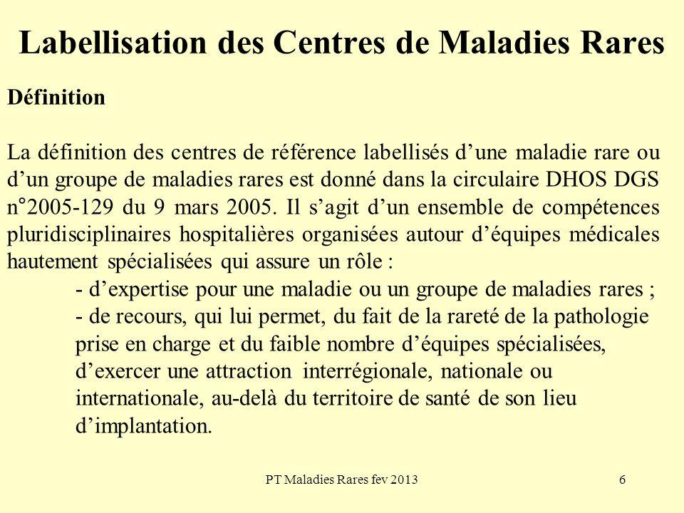 PT Maladies Rares fev 20136 Labellisation des Centres de Maladies Rares Définition La définition des centres de référence labellisés dune maladie rare