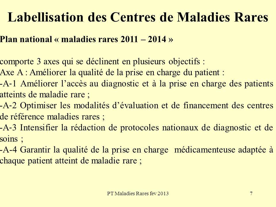 PT Maladies Rares fev 20137 Labellisation des Centres de Maladies Rares Plan national « maladies rares 2011 – 2014 » comporte 3 axes qui se déclinent