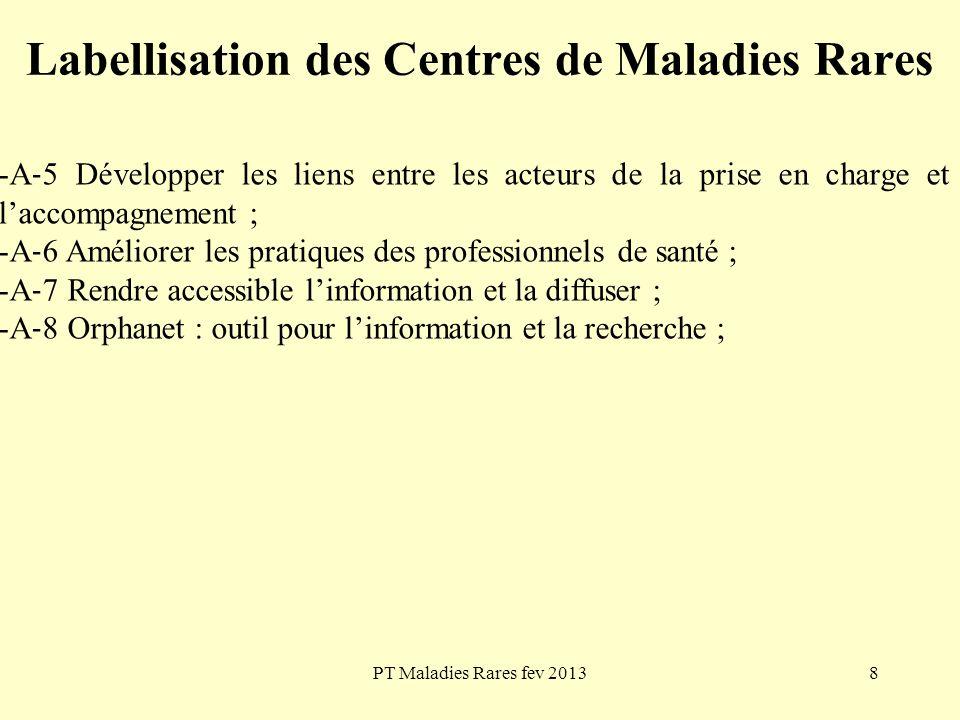 PT Maladies Rares fev 20138 Labellisation des Centres de Maladies Rares -A 5 Développer les liens entre les acteurs de la prise en charge et laccompag