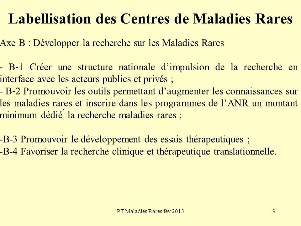 PT Maladies Rares fev 20139 Labellisation des Centres de Maladies Rares Axe B : Développer la recherche sur les Maladies Rares - B 1 Créer une structu