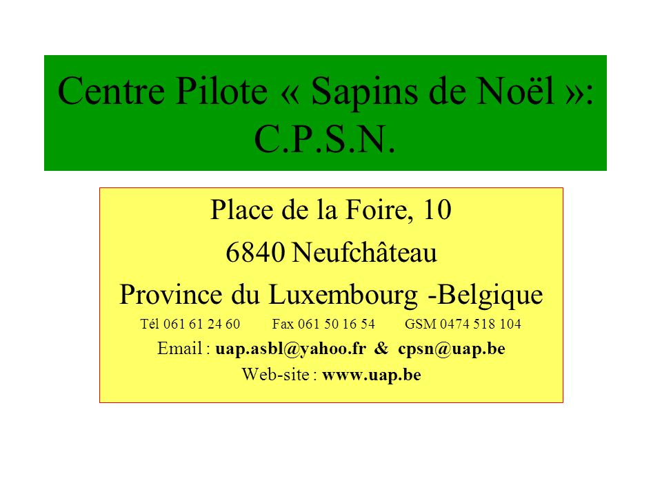 Centre Pilote « Sapins de Noël »: C.P.S.N. Place de la Foire, 10 6840 Neufchâteau Province du Luxembourg -Belgique Tél 061 61 24 60 Fax 061 50 16 54 G