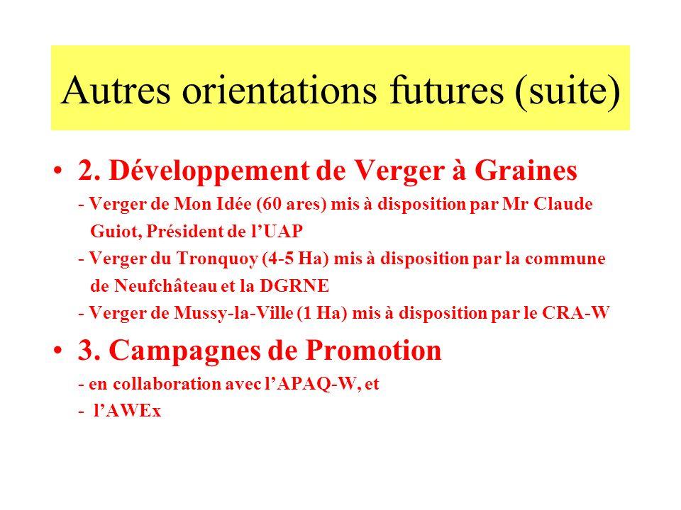 2. Développement de Verger à Graines - Verger de Mon Idée (60 ares) mis à disposition par Mr Claude Guiot, Président de lUAP - Verger du Tronquoy (4-5