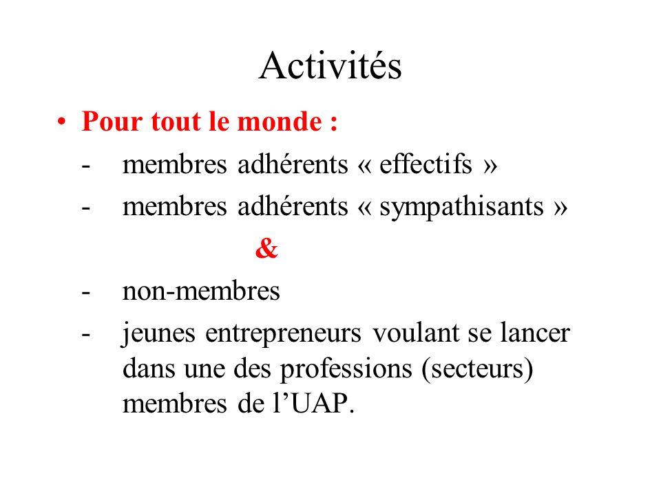 Activités Pour tout le monde : -membres adhérents « effectifs » -membres adhérents « sympathisants » & -non-membres -jeunes entrepreneurs voulant se l