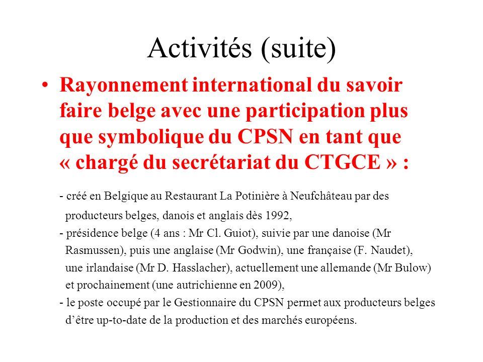 Activités (suite) Rayonnement international du savoir faire belge avec une participation plus que symbolique du CPSN en tant que « chargé du secrétari